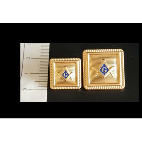 Blazer Jacket button set square with square & compass G logo enamel for Masonic Freemasonry