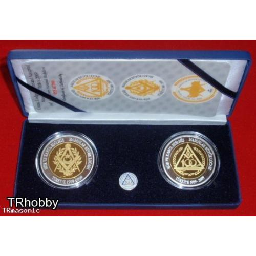 Grand lodge of independent and admitted masons of Turkey 100th years medallion set