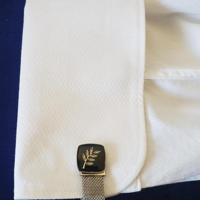 Freemasonry Masonic Black Cufflinks with Gold Chain Strap NEW !!!
